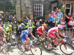Tour de France cyclists in Haworth